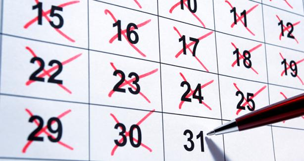 photo of a calendar with 31 days