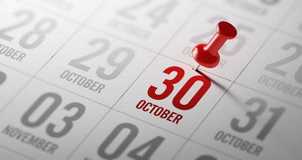 October 30 Calendar